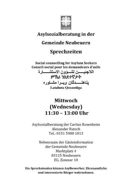 Asylsozialberatung Sprechstunde Neubeuern
